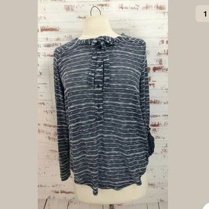Lou & Grey Striped Semi Sheer Henley Top Blue
